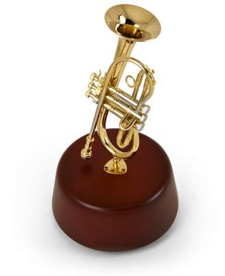 Mini A Ture MusicBoxAttic Amazing 18 Note Miniature Cornet (Trumpet-Like) With Rotating Musical Base - Old Cape Cod - SWISS
