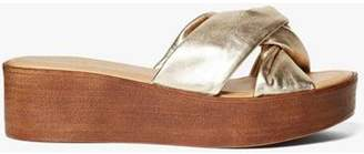 Dorothy Perkins Womens Gold Leather 'Rio' Comfort Wedges