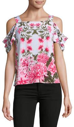 I.N.C International Concepts Petite Floral Cold-Shoulder Top