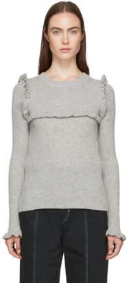 See by Chloe Grey Feminine Ruffle Sweater