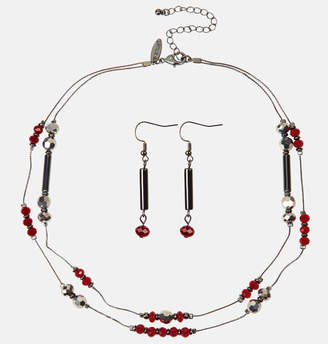 Avenue Gunmetal Red Bead Necklace and Earring Set