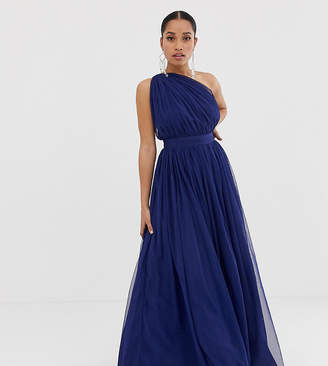 fdce9fc600b Asos DESIGN petite tulle one shoulder maxi dress