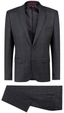 HUGO Boss Extra-slim-fit checked suit in virgin wool 36R Charcoal