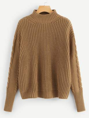 Shein Plus Solid Mixed Knit Jumper