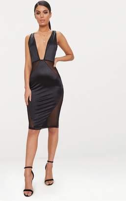 PrettyLittleThing Black Satin Plunge Mesh Panel Midi Dress
