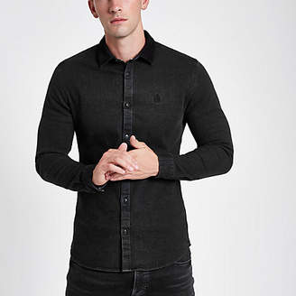 River Island Mens Black long sleeve button-down denim shirt