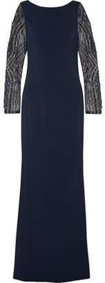 Badgley Mischka Embellished Crepe Gown