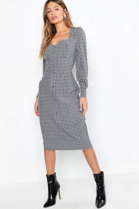 boohoo Bustier Checked Midi Dress