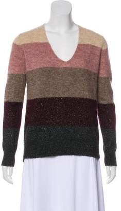 White + Warren Metallic Striped Sweater