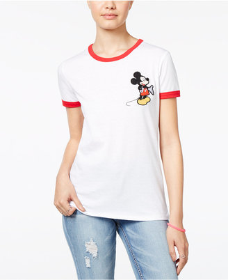 Disney Juniors' Mickey Mouse Patch Ringer T-Shirt $24 thestylecure.com