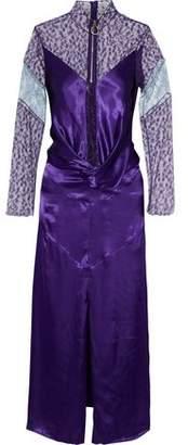 Nina Ricci Twist-Front Lace-Paneled Satin Midi Dress