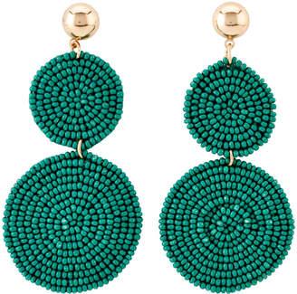 Catherine Stein Green Bead Circle Drop Earrings