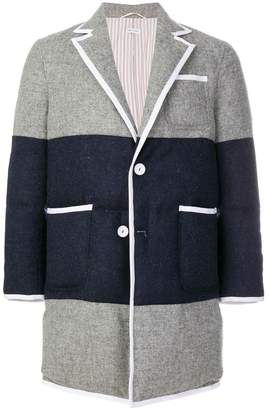 Thom Browne Bicolor Down-Filled Sack Fit Wool Overcoat