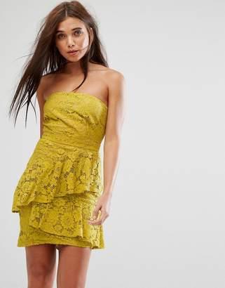 Missguided Lace Bandeau Midi Dress