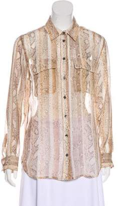 Equipment Silk Snakeskin Print Button-Up