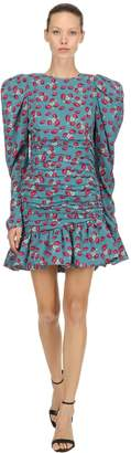 Magda Butrym Floral Printed Ruched Silk Mini Dress