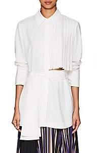 AKIRA NAKA Women's Pleated Crepe Belted Blouse-White