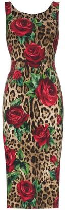 Dolce & Gabbana leopard rose print bodycon midi dress