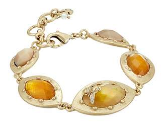 Lucky Brand Multicolor Set Stone Link Bracelet with Bees
