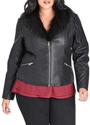 City Chic Plus Faux Fur Biker Jacket