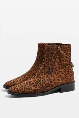 Topshop Aubrey Flat Leopard Print Leather Boots