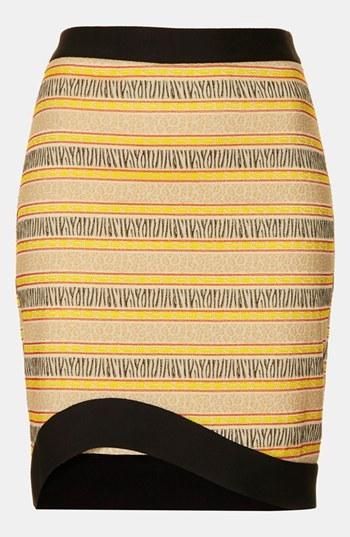 Topshop Curve Hem Jacquard Pencil Skirt
