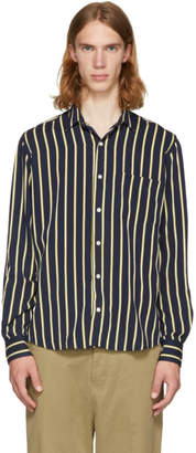Ami Alexandre Mattiussi Navy and Yellow Stripe Shirt