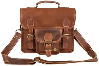 MAHI Leather - Mini Leather Harvard Satchel Messenger Bag Handbag Clutch Bag In Vintage Brown