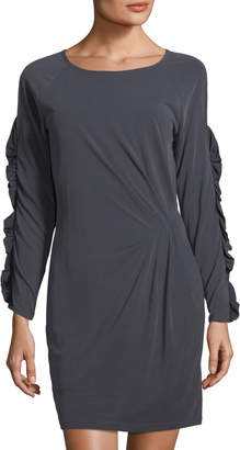 Collective Concepts Ruffled Long-Sleeve Dress, Charcoal