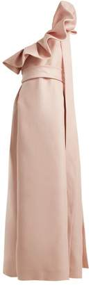 Valentino One Shoulder Silk Bow Dress - Womens - Light Pink