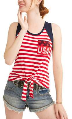 Tru Self Women's Tie-Front Pocket Tank Top