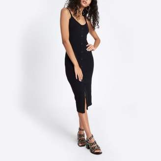 River Island Black button front rib bodycon dress