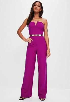 Missguided Purple V Bar Bandeau Wide Leg Romper