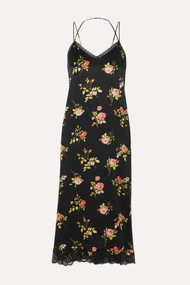 R 13 Lace-trimmed Floral-print Silk-satin Midi Dress - Black