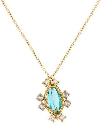 Anthony Nak 18K Blue Apatite & Diamond Pendant Necklace