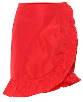 ALEXACHUNG Ruffled taffeta miniskirt