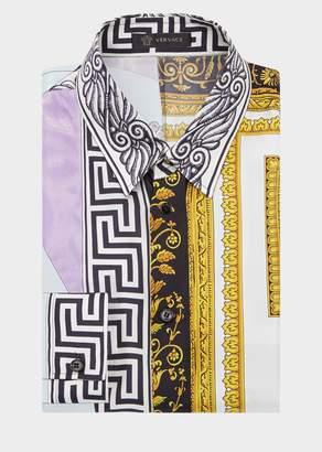 Versace Cornici Balletto Print Silk Shirt