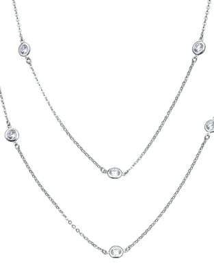 Crislu Classic Sterling Silver Bezel Multi-Strands Necklace