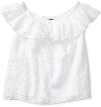 Ralph Lauren Off-The-Shoulder Cotton Top, Big Girls (7-16) $45 thestylecure.com