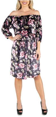 24seven Comfort Apparel Women Floral Off Shoulder Knee Length Velvet Dress