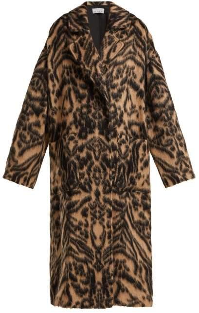 Dropped Shoulder Tiger Print Blanket Coat - Womens - Brown Multi