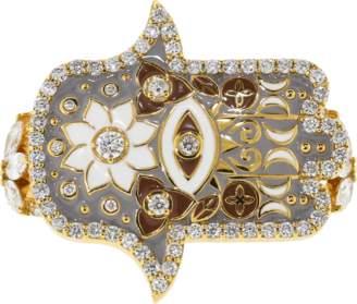BUDDHA MAMA Grey Enamel And Diamond Hamsa Double Ring