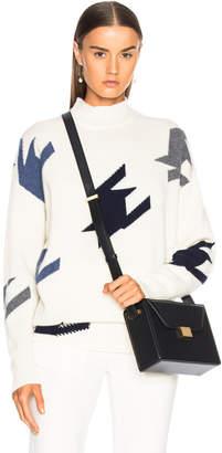 Victoria Beckham Houndstooth Cashmere Turtleneck Sweater