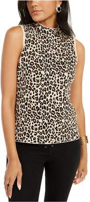 Thalia Sodi Leopard-Print Mock-Neck Sleeveless Top