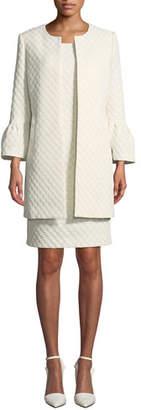 Albert Nipon Two-Piece Jacquard Dot Coat & Dress Set