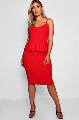 boohoo Plus Strappy Peplum Midi Dress