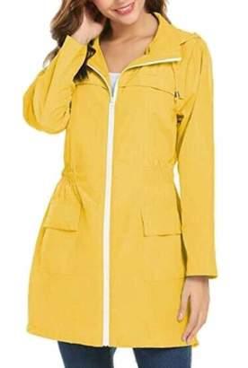 bf656185f68 Pandapang Womens Plus Size Hooded Rain Coat Jacket Zip up Windbreaker  Trenchcoat 2X-Large