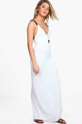 boohoo Olivia Tassel Trim Strappy Midi Dress