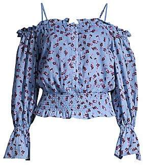 ed6e6efb01d Parker Women's Tori Cold Shoulder Smocked Waist Floral Blouse
