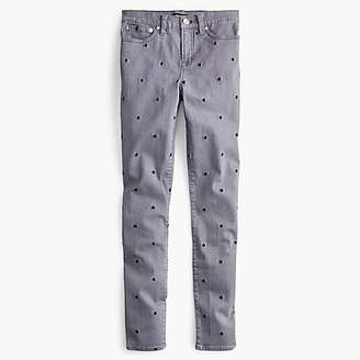"J.Crew 9"" High-Rise Toothpick Jean In Charcoal Polka Dot"